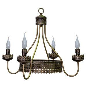 Lámpara Corona Greca 4 luces vela