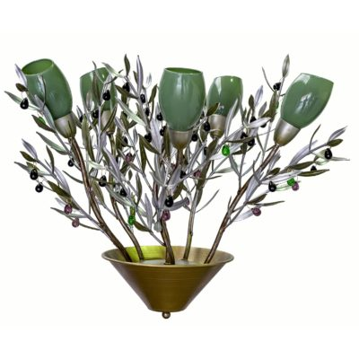 Lámpara olivo con tulipas