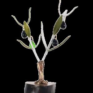 Olivo decorativo 2 ramas en base madera
