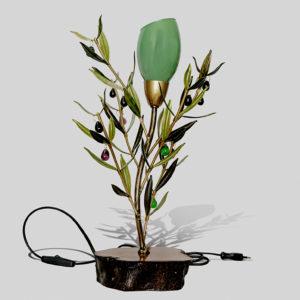 Sobremesa Olivo con tulipa y base de madera