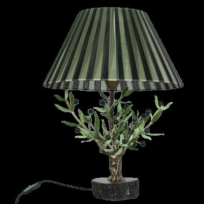 Lámpara sobremesa olivo con pantalla